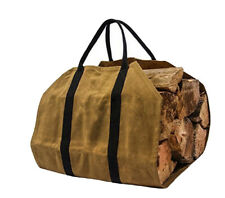 Extra Large Log Carrier Tote Firewood Holder Made of Heavy Duty Waxed Canvas