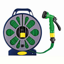 FLAT HOSE PIPE & REEL WITH SPRAY NOZZLE GUN OUTDOOR GARDEN WATERING 50FT / 15M