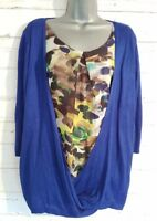 PER UNA Size 16 Top Royal Blue/Floral 2-in-1 M&S 3/4 Sleeves VGC Women's Ladies