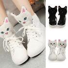 2016 Women Cute Cat Head Shoes High-top Lace Shoes Flat Shoes Casual Shoes