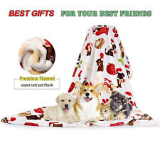 "30"" x 20"" Puppy Dog Blanket Warm Soft Flannel Pet Mat Bed Cushion Small Animals"