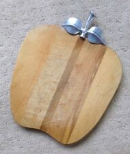 Wooden Apple Cutting Board Metal Stem Handle Country Farm Kitchen