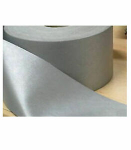 Silver Reflective Iron On Tape Grey 50mm Wide Hi Vis 1 metre to 100 Metre Length