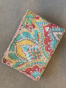 Standard Pillow Sham Quilted Multicolor Tie Closure No Brand Tag
