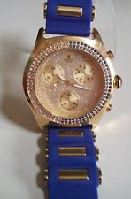 Men's Hip Hop Bling Gold/Blue Silicon Band Fashion Dressy/Casual Wrist Watch