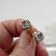 Hadar Designers 24k Gold Sterling Silver Raw Diamond Stud Earrings Handmade(AS)y