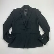 Ann Taylor Womens Suit Jacket Blazer Black Long Sleeve Single Button 6 New