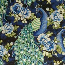 Blue Peacock Cabbage Roses Gold 100% Cotton Fabric BY THE YARD Free Ship