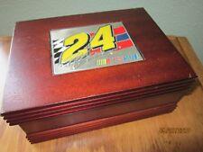 BEAUTIFUL Wooden Box 24 NASCAR Jeff Gordon Plaque on top & 1 shot glass NICE