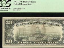 1977 $50 DOLLAR BILL FULL OFFSET PRINTING ERROR NOTE CURRENCY PAPER MONEY PCGS