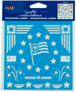 "Plaid 5 7/8"" x 5"" Decorative Laser Stencil Stars & Stripes Flag Design 28244"