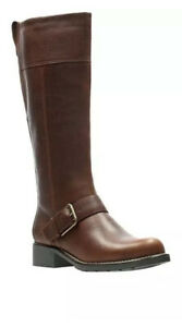 Clarks Ladies Orinoco Jazz Tan Warmlined Leather Knee High Boots Size UK 3 D