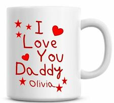 I Love You Daddy Named Coffee Mug Dad Fathers Day Lovely Tea Mug Cute Red