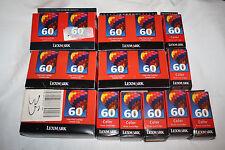 Lot of 17 Lexmark #60 Color Ink Cartridges GENUINE NEW OLD STOCK