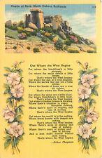Linen Postcard Multi View Castle of Rock North Dakota Badlands Poem AH B891