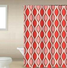Scarlet Red & White 13-Pc Bath Shower Curtain & Rings Bathroom Accessory Set