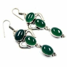 "Natural Green Onyx Agate Gemstone 90.00Cts Silver Overlay Handmade Earrings 3"""