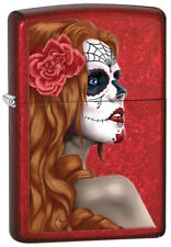 """Zippo Lighter """"Day of the Dead - Festival Girl"""" No 28830 on polished red matte"""