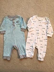 Baby Boy Carter's 3 Months 2 Piece Rompers Turtles Teal White