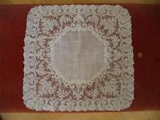 LG HAND MADE Antique VTG BELGIAN POINT DE GAZE LACE HANDKERCHIEF HANKY HANKIE