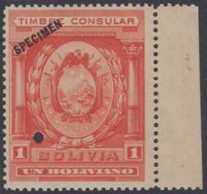 "BOLIVIA 1906 REVENUES CONSULAR Akerman JA1S PERF PROOF + ""SPECIMEN"" MNH VF"