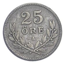 SILVER Roughly the Size of a Dime 1931 Sweden 25 Ore World Silver Coin *723