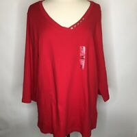 Karen Scott Women's Plus Size Red 3/4 Sleeve Top Blouse NEW Size 3X   A95