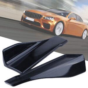 2Pcs Car Bumper Lower Spoiler Rear Lip Splitter Diffuser Carbon Fiber Color 35cm