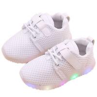 Enfants Garçon Fille Chaussures Maille Respirant Baskets Sports LED Lumière Mode