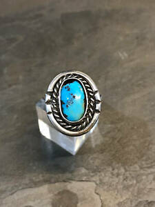 sz 2.75, vtg sterling silver ring, Native American handmade 925 w/ turquoise
