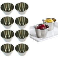 8 Stainless Steel Cups 2oz Sauce Pots Ramekins Condiment Serving Bowls Container