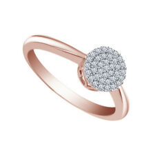 10K Rose Gold Fn 0.83 Ct Diamond Solitaire with Accents Engagement Ring Size 6.5