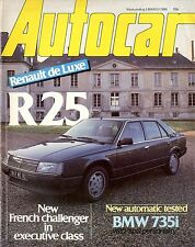 1984 AUTOCAR MAGAZIN 3.3 BMW 735I RENAULT DE LUXE R 25 CITROËN ENGLISH
