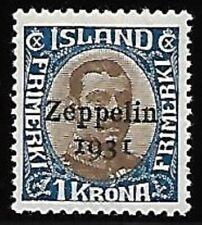 """Iceland Scott C10 - Mint Hinged - VF - Overprint """"Zeppelin 1931"""""""