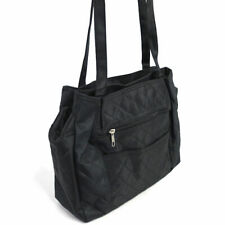 Quilted Microfiber Shoulder Bag in Black