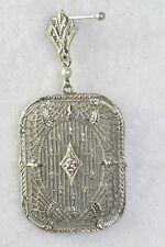 Vtg Antique 1920'S 1930'S 10K White Gold Filigree Diamond Pendant Lavaliere