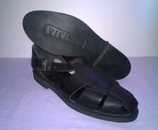 Black Genuine Leather Men's Vikings Shoes Sandals Made in Brazil Size 10.5M 4807