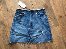 Zara Denim Skirt (M) Fit A Size 12 (30inch Waist) Distressed Look