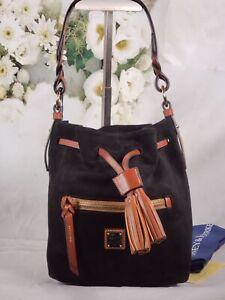 Dooney & Bourke - Suede Drawstring Bag - Logan - Black