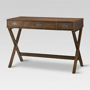 Campaign Wood Writing Desk with Drawers Brown - Threshold