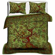 Green Color Duvet Cover Queen Size Cotton Fabric Comforter Quilt Cover Ethnic