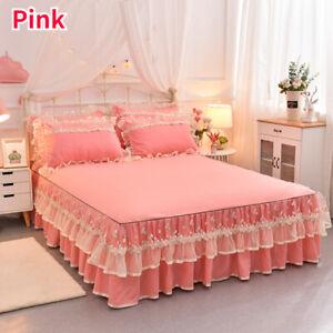 Non-slip Flower Ruffle Lace Bed Skirt Sheet Bedcover Valances Pillowcases