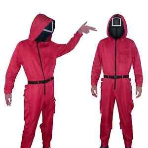 Squid Game NPC Red Jumpsuit Uniform Black Mask Cosplay Costume Halloween Party