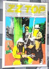 ZZ TOP / BILLY GIBBONS / DUSTY HILL FRANK BEARD 1984 MAGAZINE CENTERFOLD POSTER