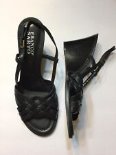 Franco Sarto Womens Black Leather Wedges 8M New Was$78.95