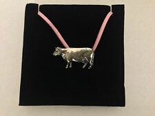 Cow PP-A37 Pewter Pendant on a PINK CORD Necklace
