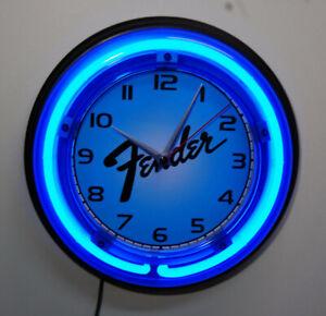 Fender guitar logo neon wall clock