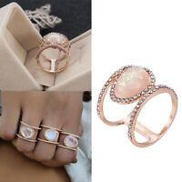 Luxury Rose Gold/Silver/Gold Natural Moonstone Women Wedding Rings High Quality