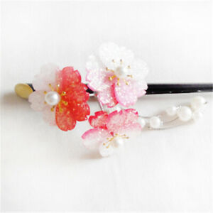 Chinese Ancient Acrylic Flower Hair Stick Pearl Tassel Hairpin Hair Jewelry