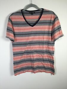 Saba mens multicolour striped V neck t shirt size S short sleeve cotton